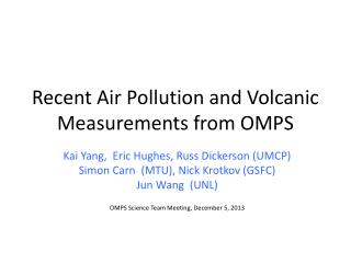 Recent Air Pollution and Volcanic Measurements  from OMPS