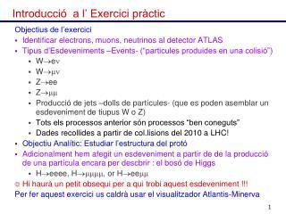 Introducció  a l' Exercici pràctic