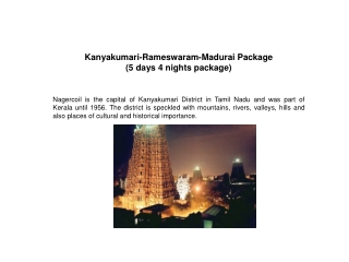 Kanyakumari-Rameswaram-Madurai Package