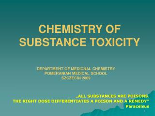 DEPARTMENT OF MEDICNAL CHEMISTRY   POMERANIAN MEDICAL  SCHOOL SZCZECIN 2009