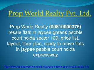 Jaypee Pebble Court Resale Price 09810000375 Noida