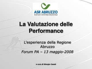 La Valutazione delle Performance