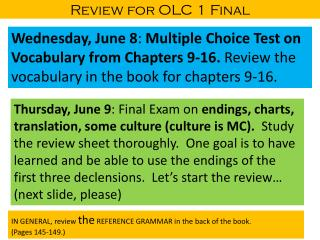Review for OLC 1 Final