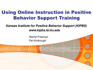 Using Online Instruction in Positive Behavior Support Training