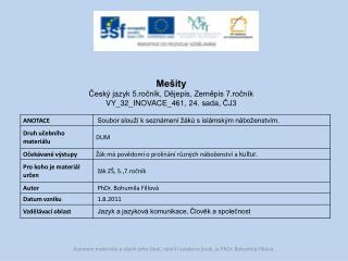 Mešity Český  jazyk  5.ročník,  Dějepis, Zeměpis 7.ročník VY_32_INOVACE_461,  24.  sada, ČJ3
