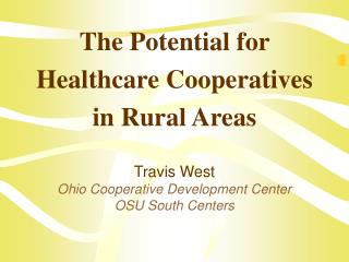 The Potential for Healthcare Cooperatives in Rural Areas