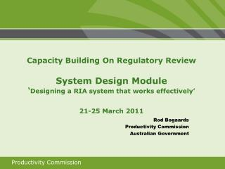 Rod Bogaards Productivity Commission Australian Government