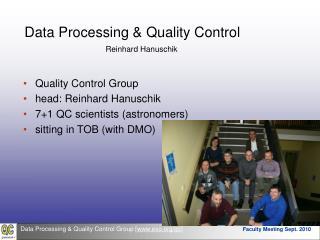 Data Processing & Quality Control