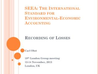 SEEA: The International Standard for Environmental-Economic Accounting Recording of Losses