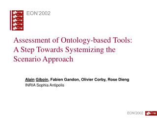 Assessment of Ontology-based Tools: A Step Towards Systemizing the Scenario Approach