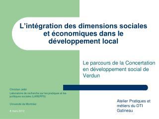 L'intégration des dimensions sociales et économiques dans le développement local