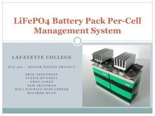 LiFePO4 Battery Pack Per-Cell Management System