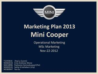 Marketing Plan 2013  Mini Cooper