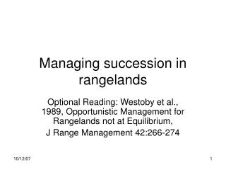Managing succession in rangelands
