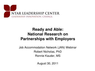 Ready and Able: National Research on Partnerships with Employers