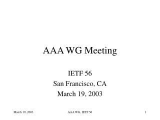 AAA WG Meeting