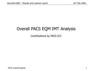 Overall PACS EQM IMT Analysis Contributions by PACS ICC