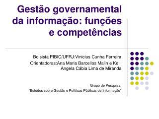 Gestão governamental da informação: funções e competências