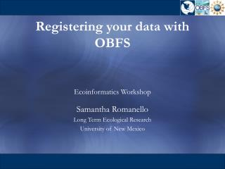 Registering your data with OBFS