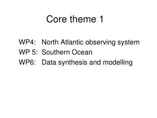 Core theme 1