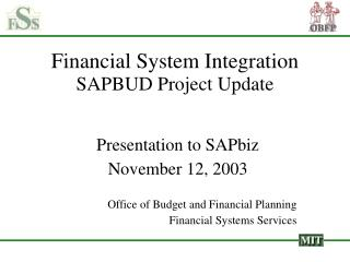 Financial System Integration SAPBUD Project Update