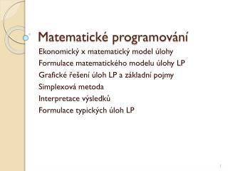 Matematické programování
