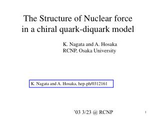 The Structure of Nuclear force      in a chiral quark-diquark model