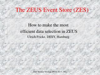 The ZEUS Event Store (ZES)