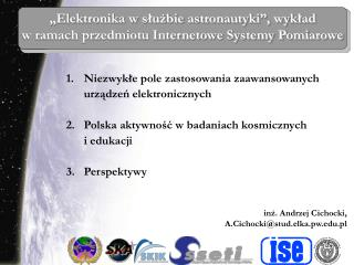 """""""Elektronika w służbie astronautyki"""", wykład  w ramach przedmiotu Internetowe Systemy Pomiarowe"""