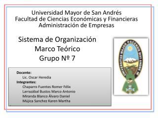 Sistema de Organización Marco Teórico Grupo Nº 7