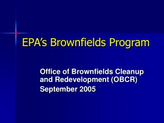 EPA's Brownfields Program