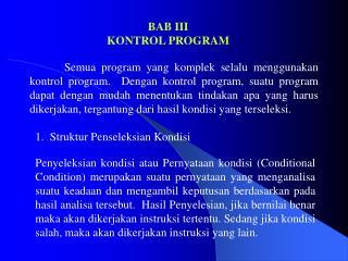 BAB III KONTROL PROGRAM