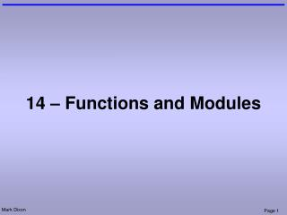 14 – Functions and Modules