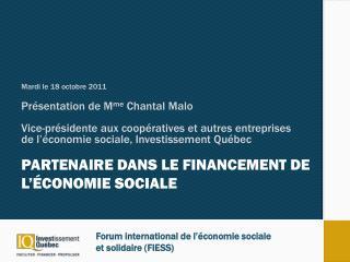 Partenaire dans le financement  de l'économie sociale