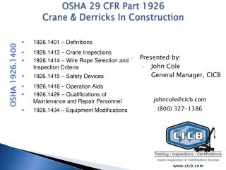 OSHA 29 CFR Part 1926 Crane  Derricks In Construction