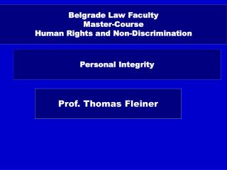 Belgrade Law Faculty Master-Course Human Rights and Non-Discrimination