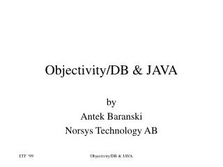 Objectivity/DB & JAVA