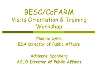 BESC/CoFARM  Visits Orientation & Training Workshop