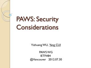 PAWS: Security Considerations