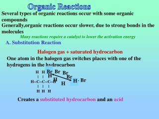 Several types of organic reactions occur with some organic compounds