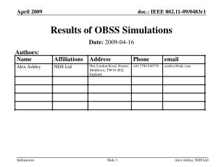 Results of OBSS Simulations