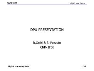 DPU PRESENTATION