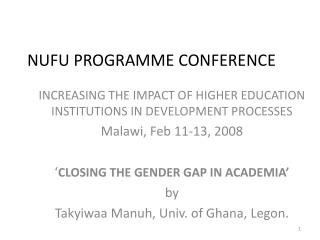 NUFU PROGRAMME CONFERENCE