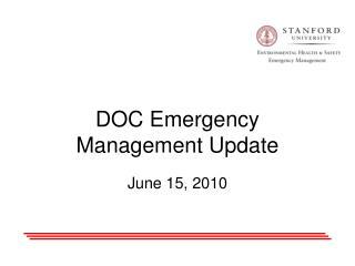 DOC Emergency Management Update