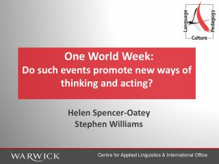 One World Week: Do such events promote new ways of thinking and acting?