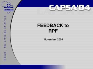 FEEDBACK to RPF