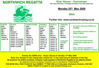 Entries: By OARA only – Close 2.00 pm on Sunday 17 th  May 2009