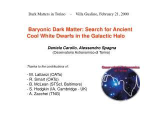 Dark Matters in Torino     -    Villa Gualino, February 21, 2000