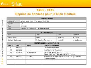 AMUE – SIFAC Reprise de données pour le bilan d'entrée