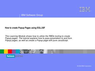 How to create Popup Pages using EGL/JSF